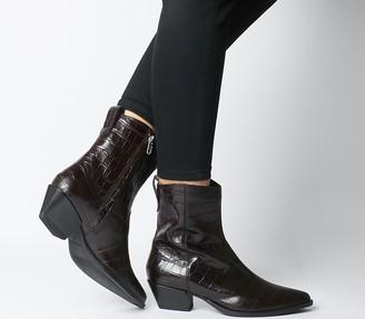 Vagabond Emily Western Block Heels Brown Embossed Leather