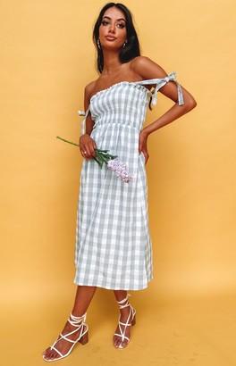 Beginning Boutique Annette Midi Dress Green Gingham