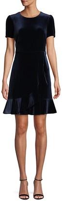 Karl Lagerfeld Paris Ruffle-Trimmed Velvet Mini Dress