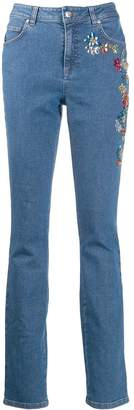 Escada embroidered skinny jeans