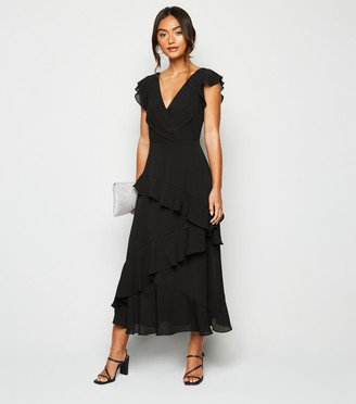 New Look Petite Frill Wrap Midi Dress