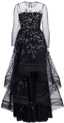 Ahluwalia Cassandra Floral-Sequin Tulle Gown