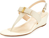 Cole Haan Elsie II Leather Bow Wedge Sandal, Ivory