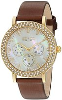 SO&CO New York Women's 5216L.3 Madison Quartz Crystal Accent Dial Day and Date GMT Brown Genuine Leather Strap Watch
