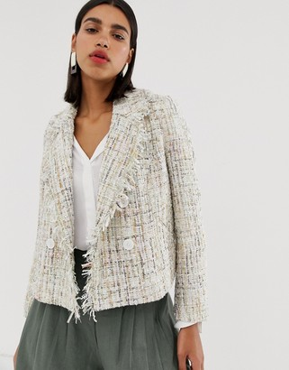 Vero Moda double breasted boucle jacket-Pink