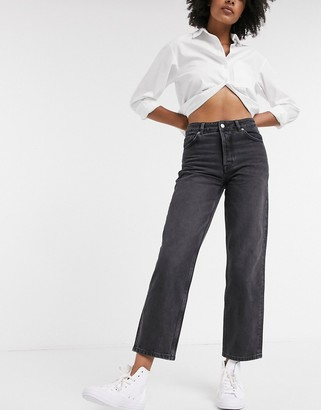 Selected organic cotton straight leg jeans in washed grey