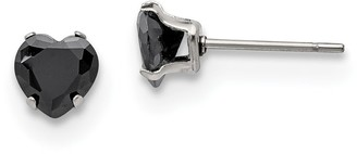 Chisel Stainless Steel Polished 6mm Black Heart Cubic Zirconia Stud Post Earrings