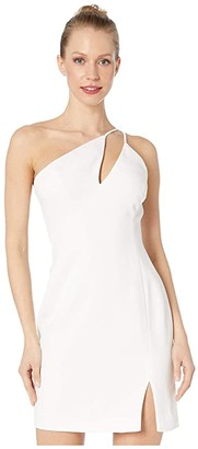 BCBGMAXAZRIA One Shoulder Cut Out Short Cocktail Dress (Off-White) Women's Dress