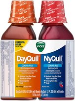 Vicks NyQuil Cold & Flu Nighttime Relief & DayQuil Cold & Flu Relief Liquid-12 oz, 2 pk