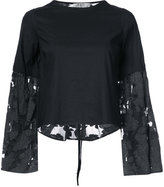 Sea wide lace sleeve top