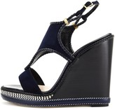 Oscar de la Renta Navy Suede and Leather Matida Wedge Sandals