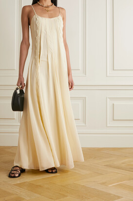 Chloe - Lace-trimmed Pleated Silk-georgette Maxi Dress - Yellow