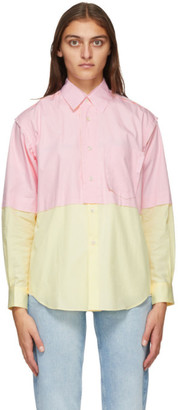 Comme des Garçons Shirt Pink and Yellow Poplin Colorblock Shirt
