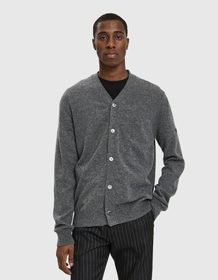 Comme des Garcons Men's Small Black Heart Sleeve Cardigan Sweater in Grey, Size Large | Wool
