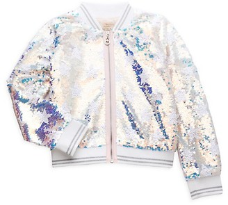 Hannah Banana Little Girl's Star Sequin Bomber Jacket