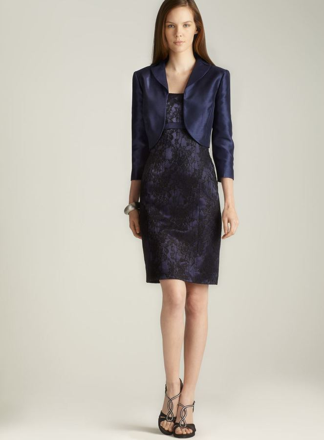 Tahari Cropped Jacket Lace Dress