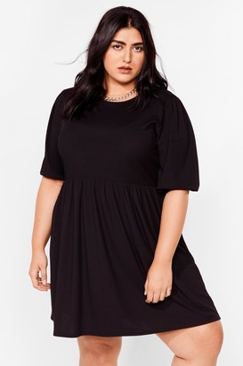 Nasty Gal Womens You're a Total Smock Out Plus Mini Dress - Black - 16, Black