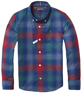 Tommy Hilfiger Boys' Multicolour Check Long Sleeve Shirt, Blue