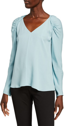 Theory Shirred Shoulder V-Neck Long-Sleeve Silk Top