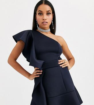 Asos DESIGN Petite one shoulder ruffle mini dress with pep hem