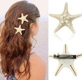 Towallmark(TM)Beautiful Charming Europe Style Pretty Natural Starfish Star Beige Hair Clip For Girls