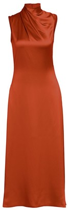 Brandon Maxwell Wrapped Highneck Sleeveless Satin Dress