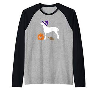 Vizsla Witch Hat Halloween Dog Costume Raglan Baseball Tee