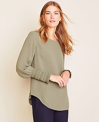 Ann Taylor Petite Smocked Cuff Top