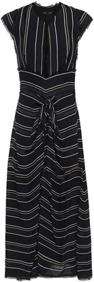 Proenza Schouler Cutout Knotted Striped Crepe Midi Dress