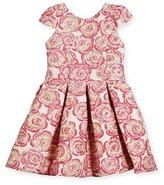Zoe Pleated Metallic Rose Brocade Dress, Pink, Size 7-16