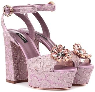 Dolce & Gabbana Keira embellished lace sandals