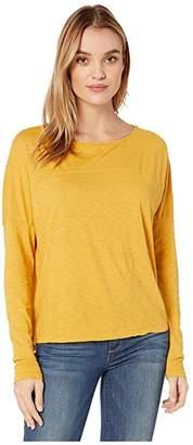Michael Stars Bria Supima Cotton Slub Boat Neck Top w/ Yoke Seam (Ochre) Women's Clothing