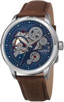 Akribos XXIV Mens Blue Dial Brown Leather Strap Watch