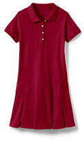 Lands' End Girls Plus Short Sleeve Mesh Polo Dress-Red