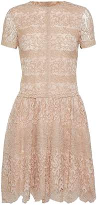 Valentino Metallic Cotton-blend Corded Lace Mini Dress