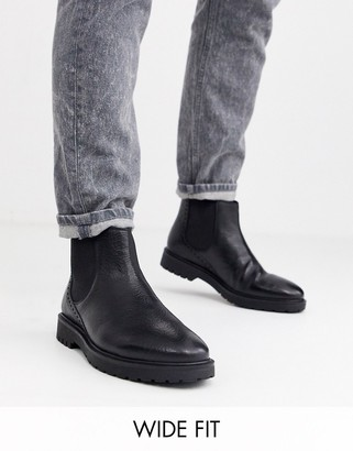 Dune wide fit leather chunky chelsea boot in black