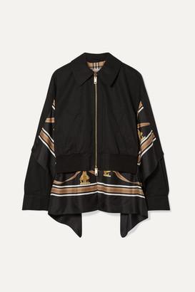 Burberry Paneled Cotton-gabardine And Printed Silk-twill Jacket - Black