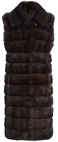 The Fur Salon Sable Fur Notch Collar Long-Line Vest