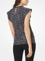 MICHAEL Michael Kors Leopard and Plaid Matte-Jersey Top