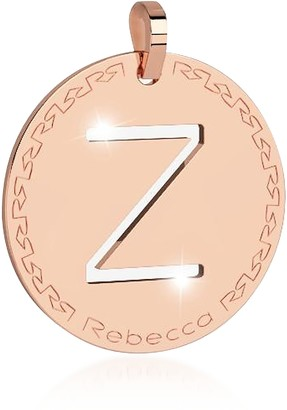 Rebecca Rose Gold-plated Bronze Z Charm W/Rhodium-plated Necklace