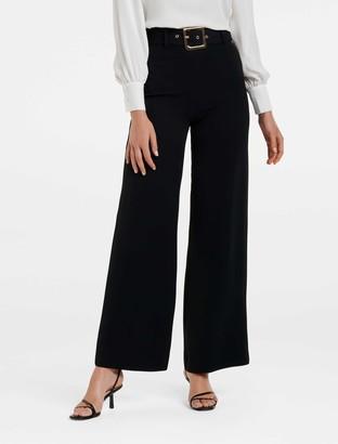 Forever New Gigi Wide-Leg Belted Pants - Black - 14