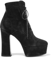 Saint Laurent Candy Suede Platform Ankle Boots - Black