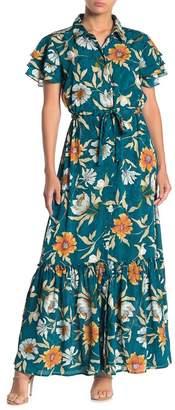 Love Stitch Floral Print Button Front Maxi Dress