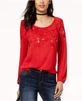 INC International Concepts I.N.C. Sequined Embroidered Top, Created for Macy's