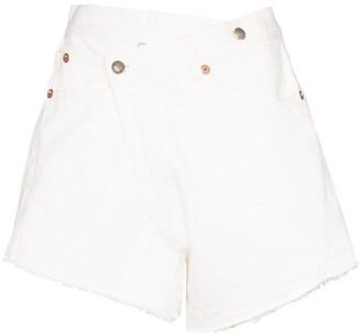 R 13 Crossover Waist Denim Shorts