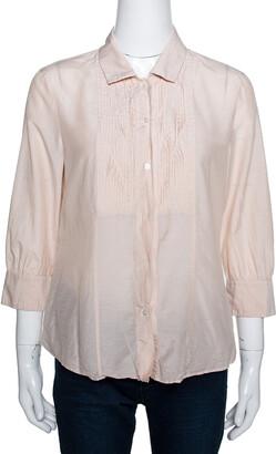 Boss By Hugo Boss Beige Cotton Silk Pleat Front Blouse M