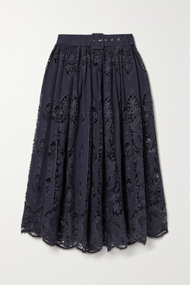 Miguelina Penina Belted Crochet-trimmed Cotton And Linen-blend Midi Skirt - Midnight blue