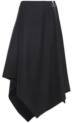 Cédric Charlier Asymmetric Zip-detailed Wool-twill Midi Skirt