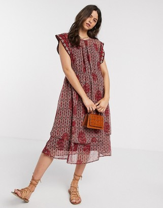 Y.A.S chiffon midi dress with layered skirt and beaded detail in mixed print