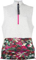 adidas by Stella McCartney printed trim contrast top - women - Cotton/Polyester/Spandex/Elastane - XS